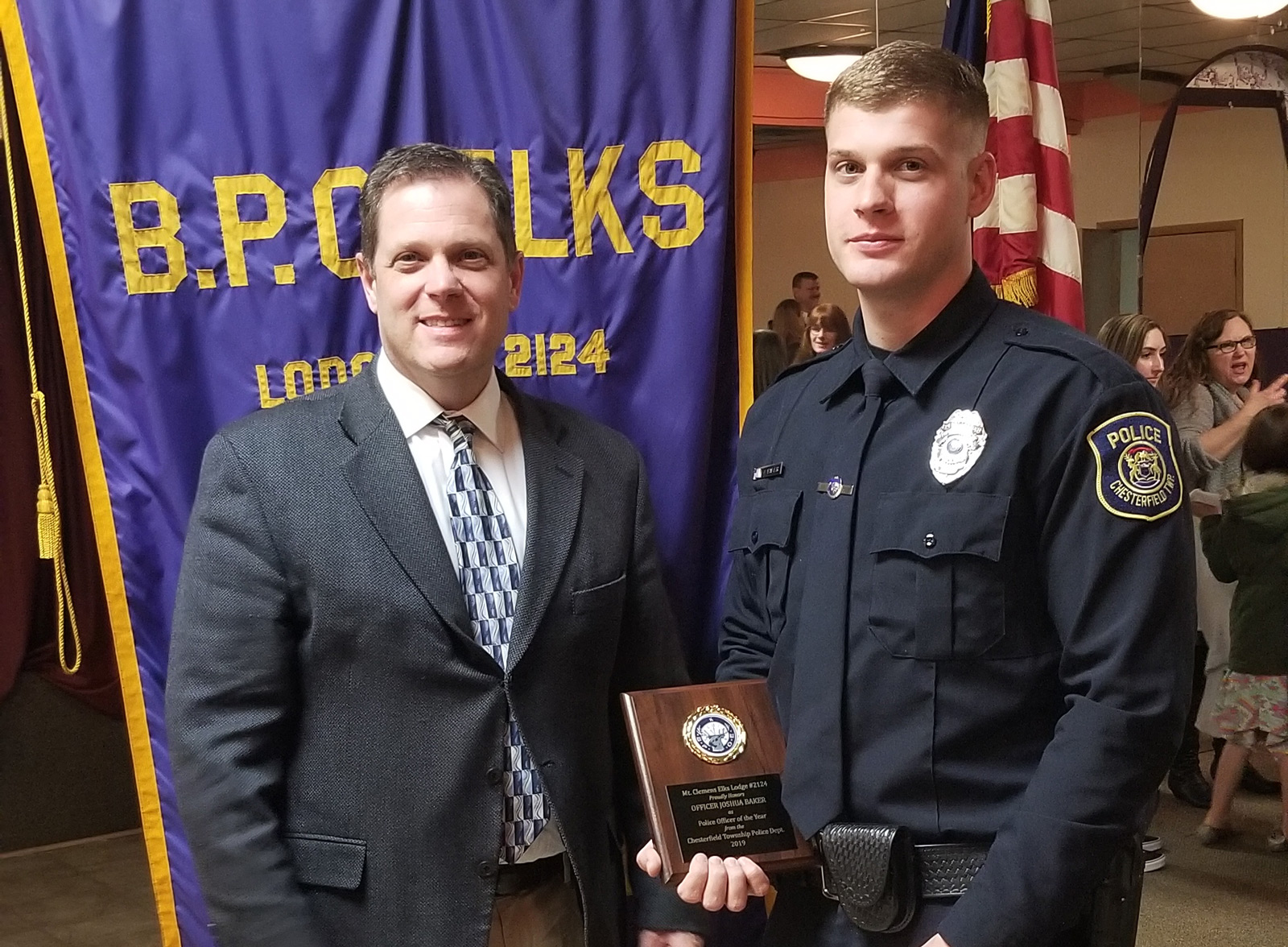 Officer Baker Awarded 'Officer of the Year' by Mount Clemens Elks Lodge