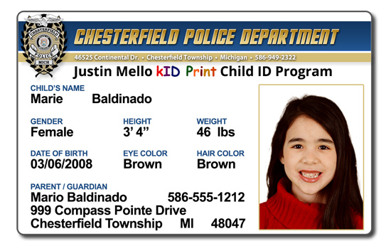 Chesterfield Township Police Department Justin Mello Kid